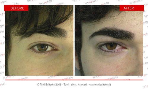 immagine di eye liner tatuato di toni belfatto