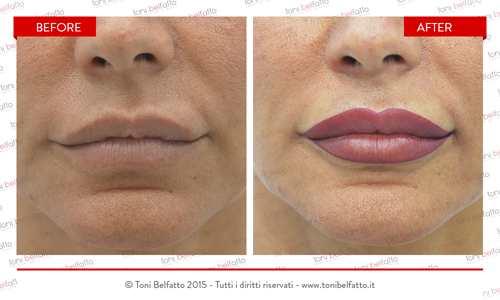 immagine di trucco permanente sulle labbra di Toni Belfatto
