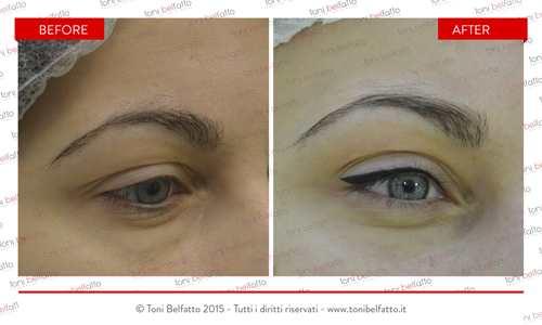 immagine di un trattamento di trucco permanente occhi di toni belfatto