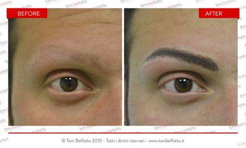 immagine prima e dopo di trucco permanente sopracciglia uomo
