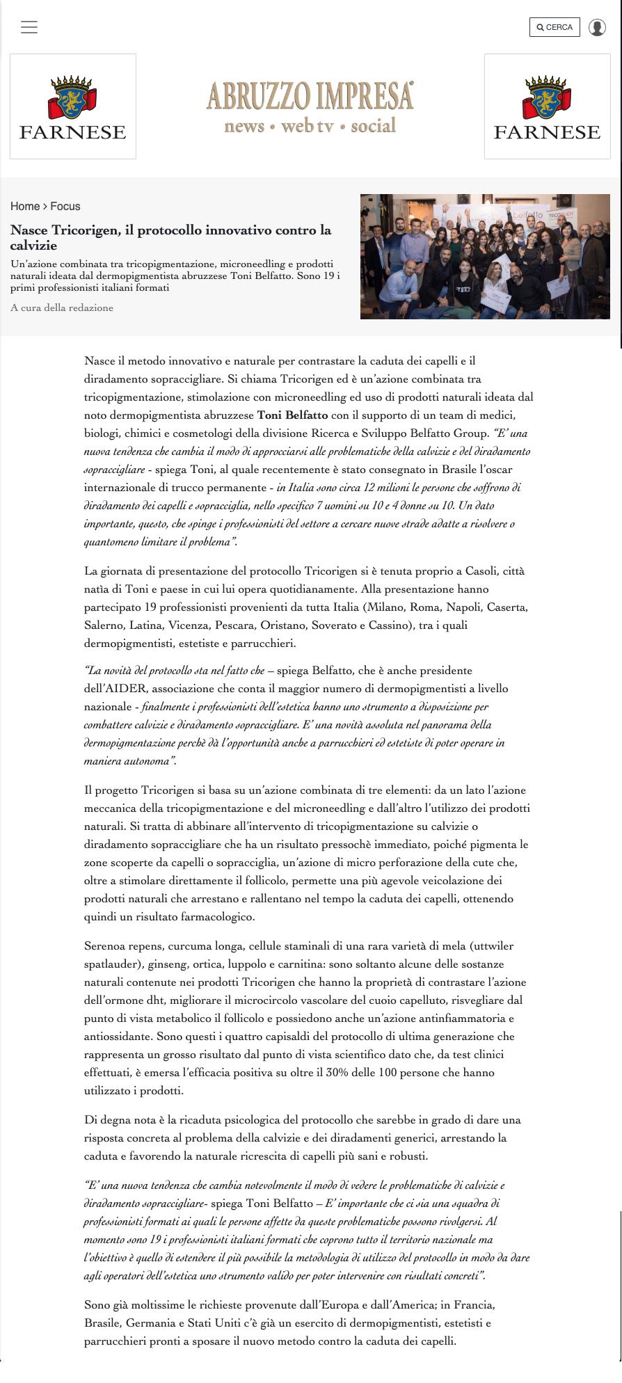abrutto impresa - Nasce Tricorigen, il protocollo innovativo contro la calvizie