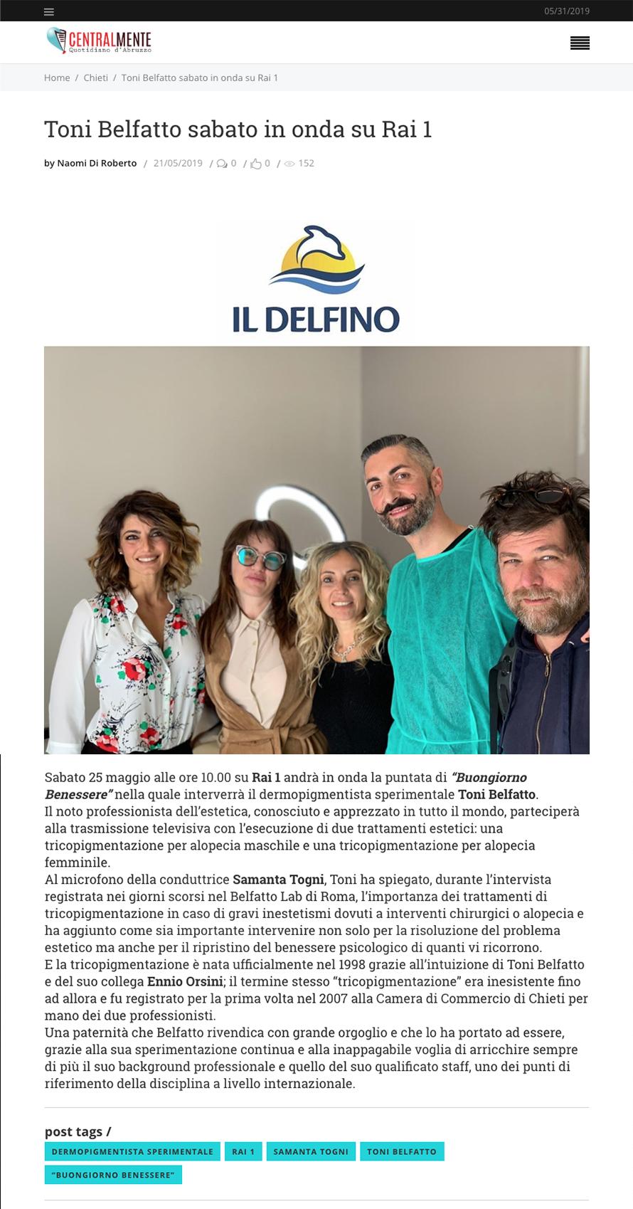 il delfino 21 maggio 2019 - Toni Belfatto sabato in onda su Rai 1