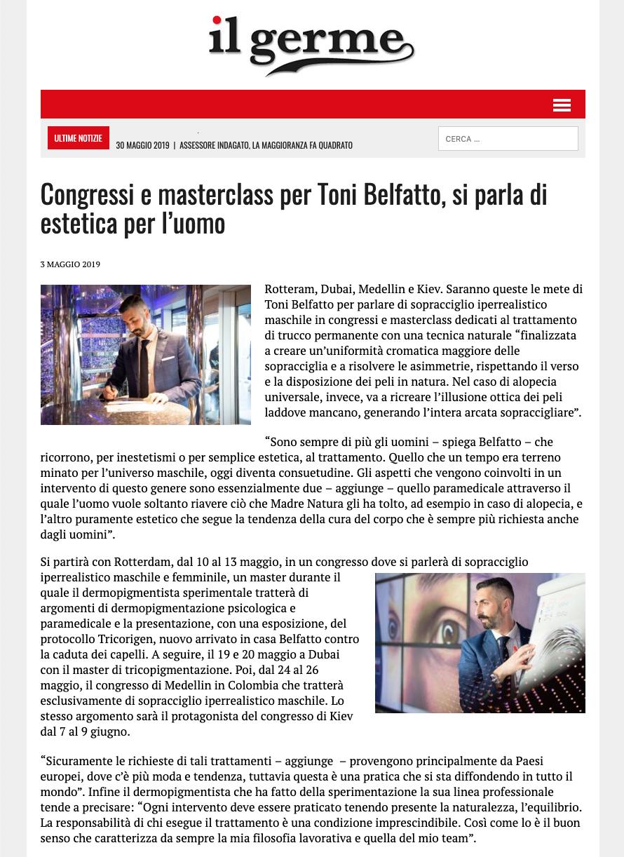 il germe 3 maggio 2019 - Congressi e masterclass per Toni Belfatto, si parla di estetica per l'uomo