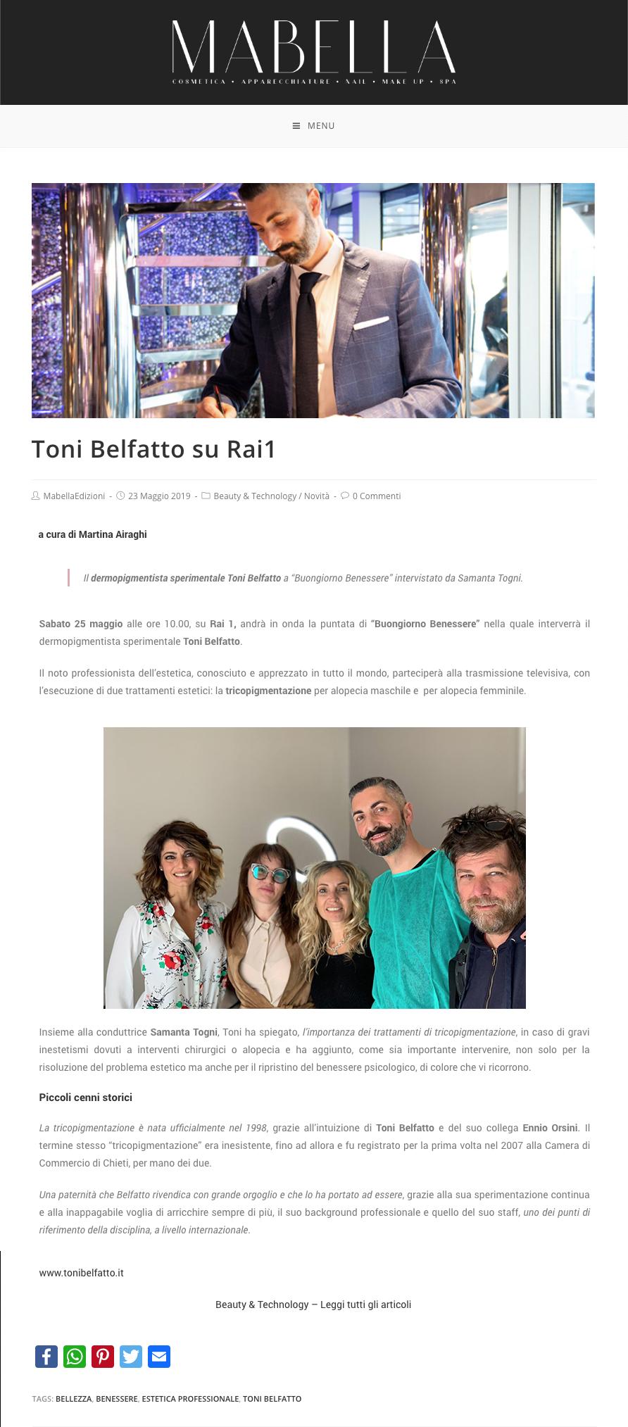 mabella 23 maggio 2019 - Toni Belfatto su Rai 1